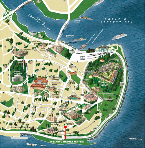 ISTANBUL MAP – Istanbul Tourist Attractions Map